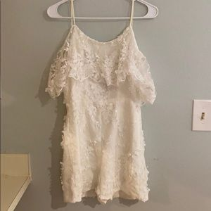 Dress the population white lace romper- S